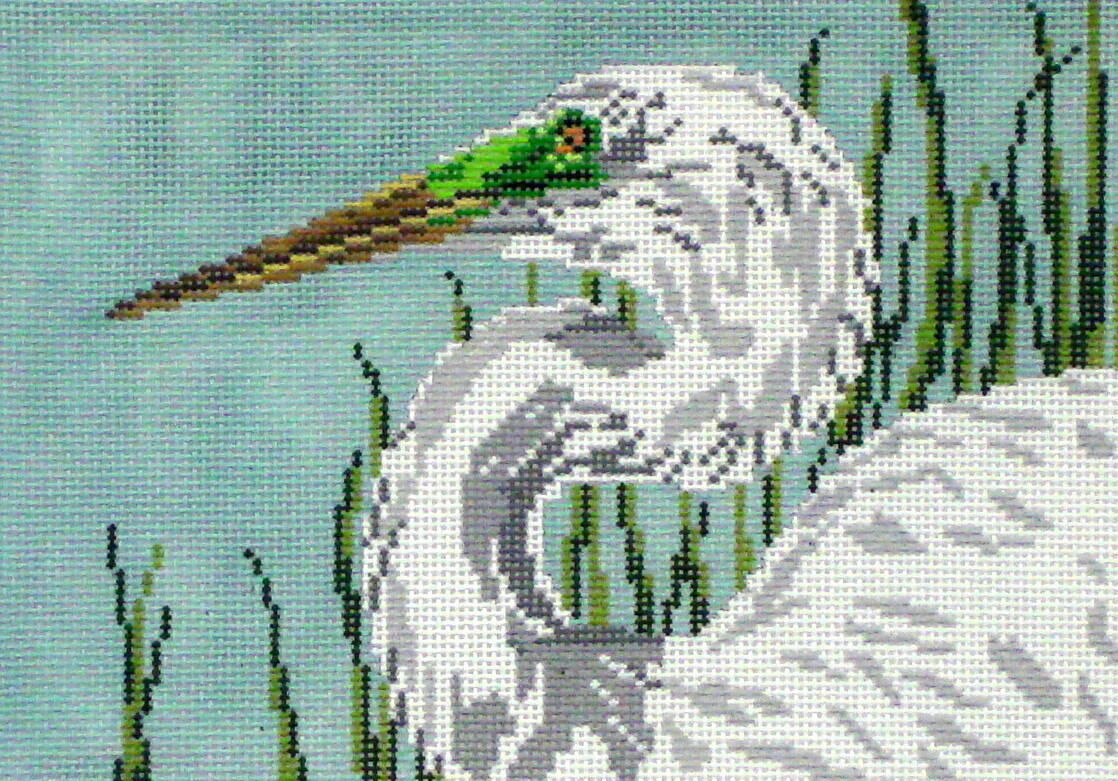 Great Egret     (hand painted from Needle Crossing)
