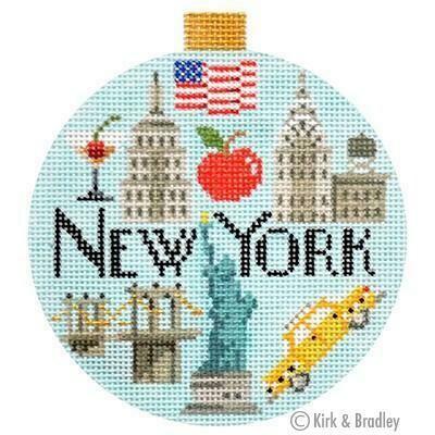 New York Travel Round         (stitch painted from Kirk & Bradley)