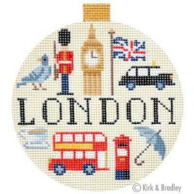 London Travel Round        (stitch painted from Kirk and Bradley)