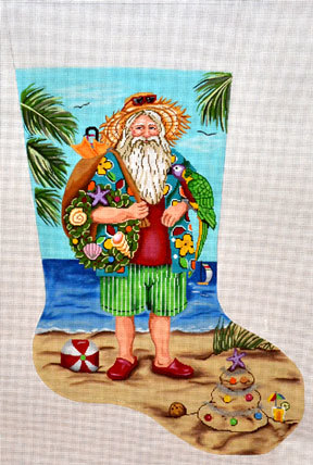 Tropical Stocking   (Handpainted by Gayla Elliott Designs)