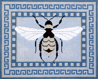Elegant Bee with Gray Border     (Handpainted Needlepoint by JP Needlepoint)