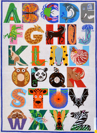Animal Alphabet Rug/Wall Hanging    (handpainted by Treglown Designs)