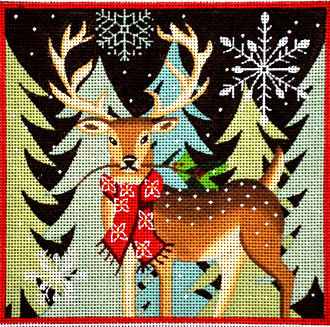 Deer - Red Scarf   (handpainted from Maggie & Co.)