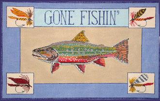 Gone Fishin, Trout  (Handpainted canvas by Danji)