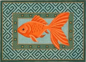 Goldfish Swimming Left     (Handpainted from JP Needlepoint)