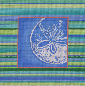 Sand Dollar Silhouette/Striped Border   (hand painted from Associated Talent)