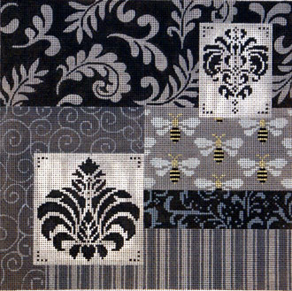 Black, White and Grey Patch w/ Medallions   (Handpainted by JP Needlepoint)