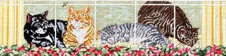 Kittens in Window (Handpainted by Needle Crossings)