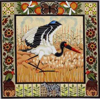 Saddle-billed Stork   (handpainted by Melissa Shirley)