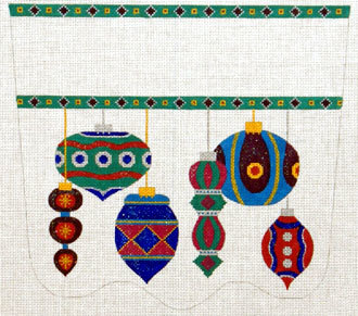 Antiques Ornaments Stocking Cuff   (handpainted needlepoint canvas  from The Meredith Collection)