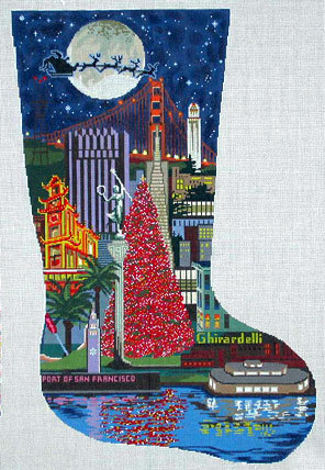 San Francisco Stocking (Handpainted from DJ Designs)