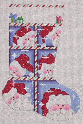 Large Window Santa Stocking    (Handpainted from Cheryl Schaeffer Designs)