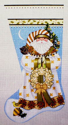 Golden Santa Stocking   (Handpainted by Melissa Shirley)