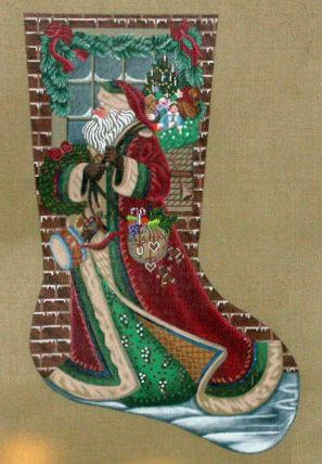 Santa Delivering Stocking   (handpainted by Liz-Goodrick-Dillon)