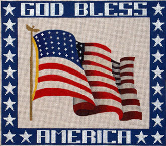 God Bless America   (Handpainted by JP Needlepoint)