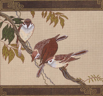 Sparrow Pillow (Handpainted by Red Thread Designs)