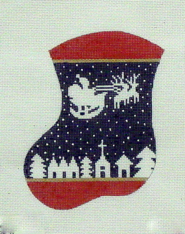 Santa & Reindeer on Navy      (handpainted by Meredith Collection)