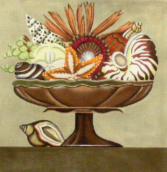 Brown Shell Compote   (handpainted by Melissa Shirley Designs)