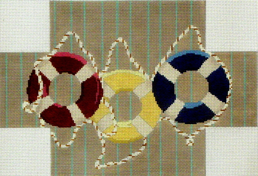 Life Rings Brick Cover   (handpainted by CBK Needlepoint Collection)
