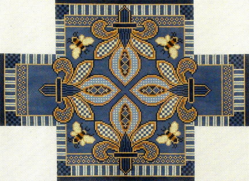 Blue Fleur de Lis Brick Cover    (Hand Painted by Canvasworks)