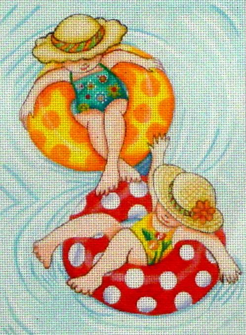 Inner Tube Girls  (hanpainted by Mary Engelbreit)
