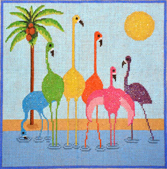 Six Flamingos (includes stitch guide)  (handpainted from NPA)