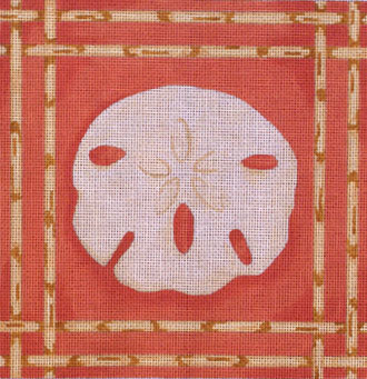 Sand Dollar / Bamboo Border   (Handpainted from Associated Talent)