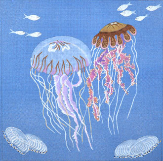 Jelly Fish on Blue Canvas  (Handpainted by Dede's Needleworks)