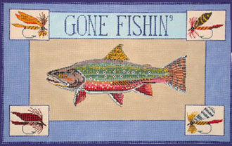 Gone Fishin, Trout  (Handpainted canvas by Danji)