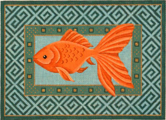 Goldfish Swimming Left     (Handpainted from JP Needlepoint)