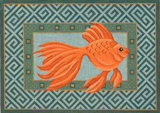 Goldfish Swimming Right    (Handpainted from JP Needlepoint)