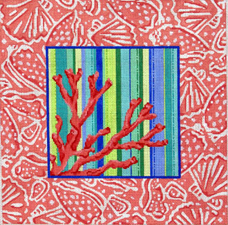 Coral/Shell, Toile Border    (Handpainted from Associated Talents)l