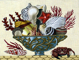 Shell Compote    (handpainted by Melissa Shirley)