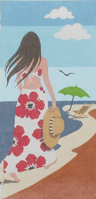 Beach Lady        (Handpainted by Lee Needlearts)