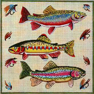 Three Fish   (Handpainted by Alice Peterson Company)