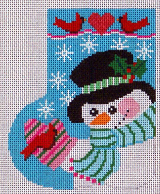 Cardinal Snowman Mini-Sock (Handpainted by Shelly Tribbey Designs)