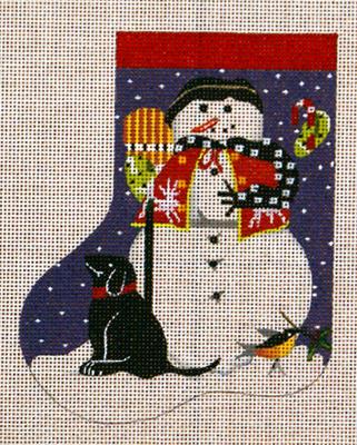 Black Dog Snowman Mini Sock    (handpainted by Melissa Shirley)