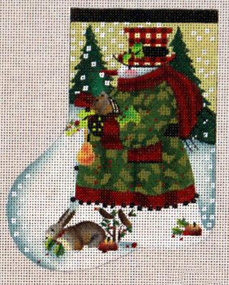 Holly Snowman Mini-Sock (handpainted by Melissa Shirley)
