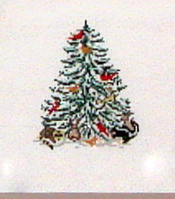 Cardinal & Critter Christmas Tree    (hand painted from Needle Crossing)