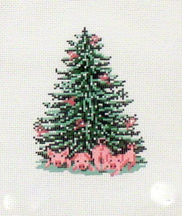 Pink Piggy Tree    (handpainted by Needle Crossing)