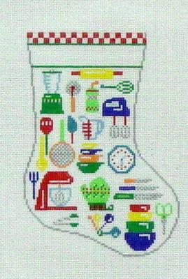 Kitchen Utensils Mini Sock (handpainted by Susan Roberts)