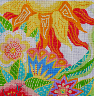 Large Tropical Garden   (handpainted by Jean Smith)