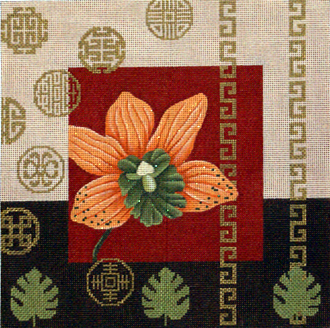 Orange Orchid & Coins    (Handpainted by JP Needlepoint)