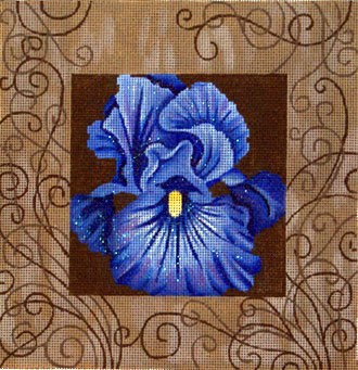 Blue Iris and Swirls   (handpainted by JP Designs)