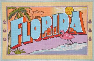 Vintage Florida Postcard   (Handpainted by Raving Beauties)