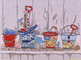 Pails on Shelf  (Handpainted by Cooper Oaks Designs)