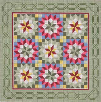 Crowned Star Quilt   (handpainted by Susan Roberts)
