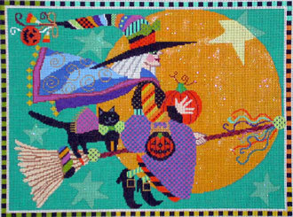 Midnight Ride,  includes stitch guide   (Handpainted by Shelly Tribbey Designs)