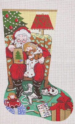 Storytime / Girl Stocking (Handpainted by Lee's Needle Arts)