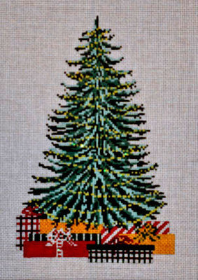 Old Christmas Tree Pillow (Handpainted by Needle Crossings)